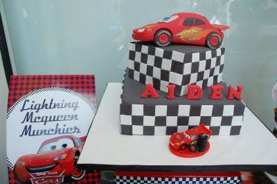 Lightning McQueen car cake. Lizzie as a Mummy: Raw Pictures from Aiden's Disney Cars 2nd Birthday!