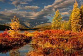 Утро, осень, горы, облака, озеро Танцующих Хариусов, Магадан, Максим Евдокимов