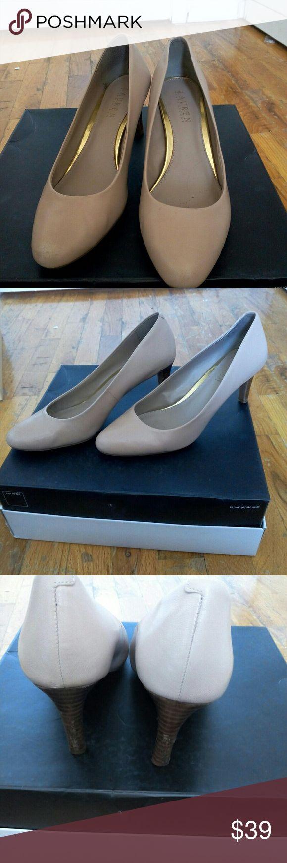Lauren Ralph Lauren Nude with a wooden heel. There are some signs of use (see pictures) Lauren Ralph Lauren Shoes Heels