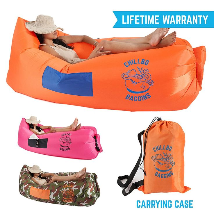 Chillbo Baggins Inflatable Lounge Bag Hammock Air Sofa and Pool Float Ships Fast! Ideal for Indoor or Outdoor Hangout or Inflatable Lounger for Camping Picnics and Music Festivals ** Check this awesome image  : Air Lounges