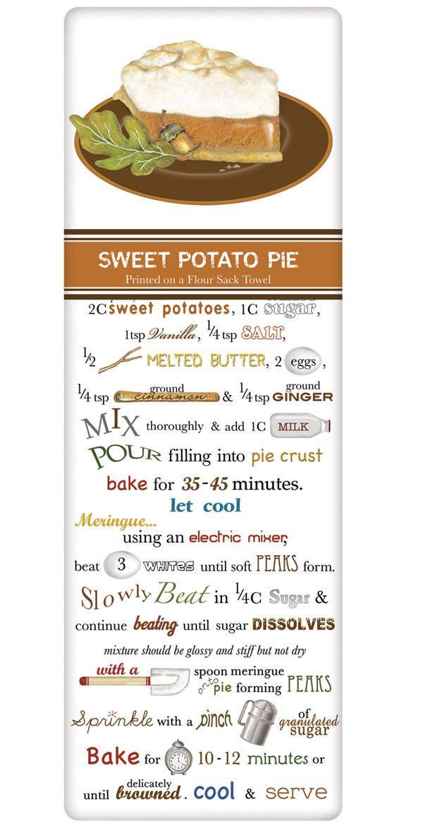 Rustic Sweet Potato Pie Recipe 100% Cotton Flour Sack Dish Towel Tea Towel