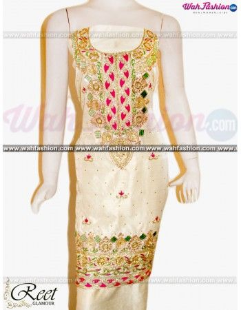 Give yourself a stylish & punjabi look with this Elegant Cream Embroidered Punjabi Suit From Reet Glamour. Embellished with Embroidery work and lace work. Available with matching bottom & dupatta. It will make you noticable in special gathering. You can design this suit in any color combination or in any fabric. Just whatsapp us for more details. For more details whatsapp us: +919915178418