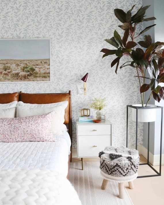 Leaf Branches Removable Wallpaper Botanical Wallpaper Nursery Wallpaper Woodland Enchanted Nature Peel And Removable Wallpaper Bedroom Design Home Decor