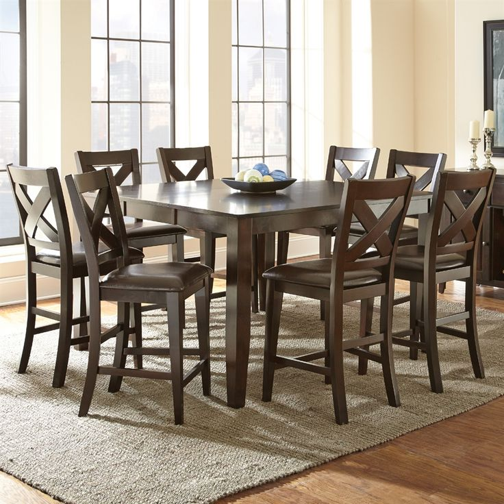 Shop Steve Silver Company Crosspointe 9 Piece Counter Height Dining Set At Atg Stores Browse Our Din Counter Height Dining Sets Dining Room Sets Dining Table