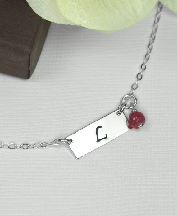 Personalized Necklace, Silver Bar,  Birthstone Necklace, Monogrammed Date ,Personalized Initial Jewelry,Silver Letter Discs,Valentine's Gift