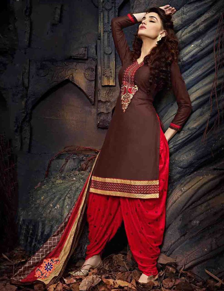 http://www.thatsend.com/shopping/lp/fvp/TESG234184/i/TE305142/iu/brown-cotton-patiala-salwar-kameez  Brown Cotton Patiala Salwar Kameez Apparel Pattern Embroidered. Stiching Type Unstitched. Work Embroidery. Bottom Color Red. Dupatta Work Border Lace.
