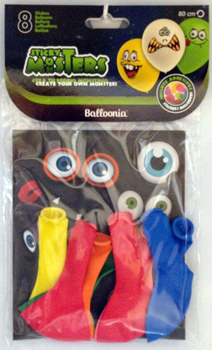DisfracesMimo, bolsa 8 globos monstruos 80 cm de colores con pegatinas para fiestas. Comprar globos baratos. Ideal para decoraciones de festivales de halloween o miedo en grupos, colegios o cumpleaños.