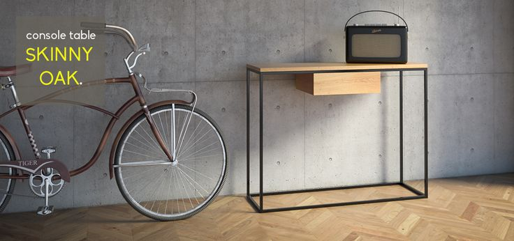 industrial console table http://takemehome-shop.com/en/shop/215-skinny-oak-console-table.html
