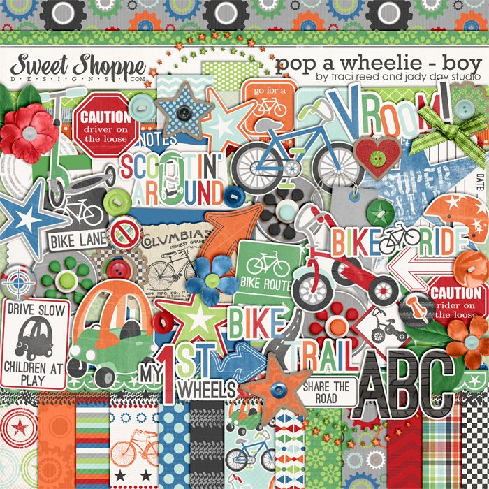Pop A Wheelie: Sweet Shoppe, Digital Kits, Design Digital Scrap, Digital Crap Book Digiscrap, Digital Scrapbook, Cute Kids, Comic Book, Boys Scrapbook, Digiscrap Kits