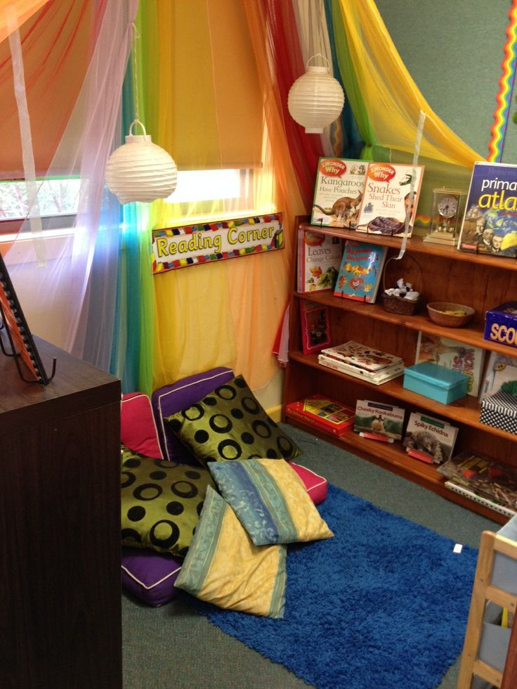 * This Reading Corner at first seemed to be too much to me, but then I though actually it is happy and cool and inviting, it has textures its secluded and pillows for laying about. The books are displayed so you can see the covers and want to read. -breeann l