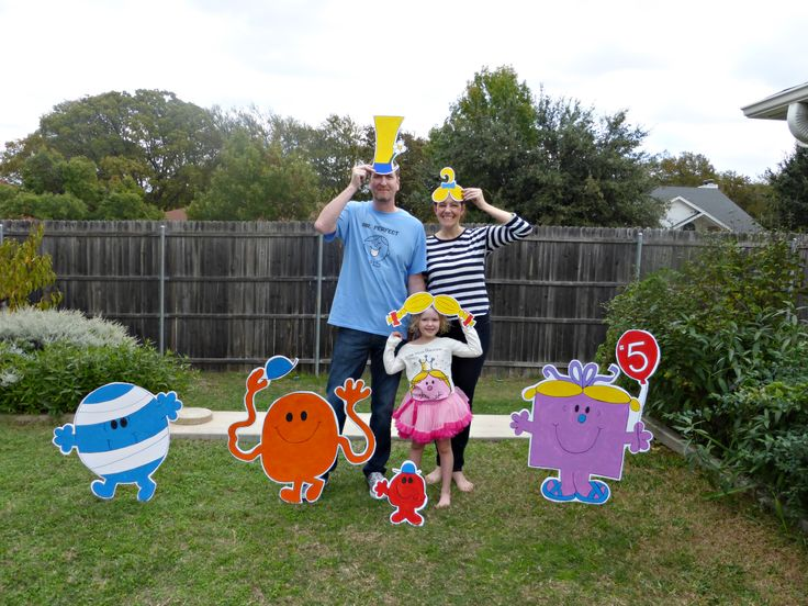 I made R a Mr. Perfect t-shirt to wear too.  Mr. Small, Mr. Bump. Mr. Tickle and Little Miss Birthday were all made from foam board as were the Mr. Men and Little Miss hairs and hats.