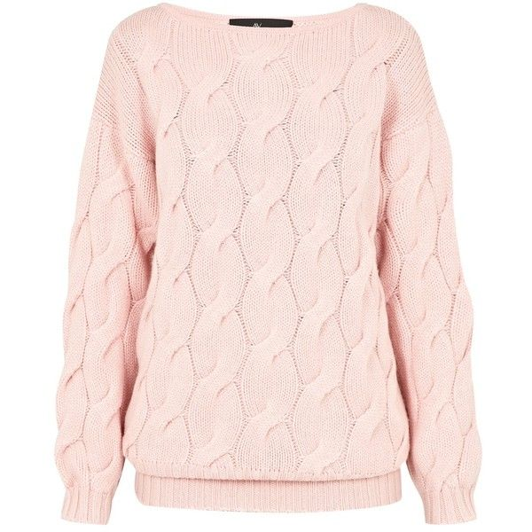 AV by Adriana Voloshchuk - Oversized Knitted Jumper found on Polyvore featuring tops, sweaters, pink top, oversized chunky cable knit sweater, cableknit sweater, oversized cable knit sweater and oversized sweaters
