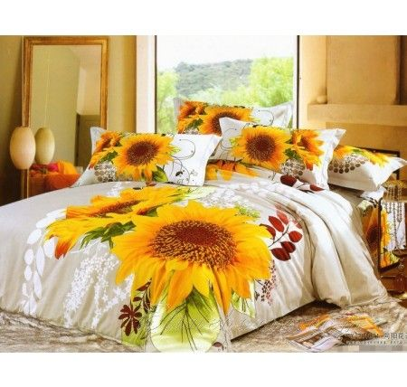 King Size Sunflower Comforter Cover Bedding Flowers