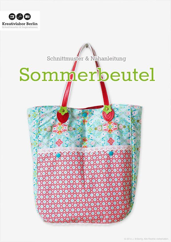 Kostenloses Schnittmuster: Sommerbeutel mit Taschengriffen: http://www.kreativlaborberlin.de/naehanleitungen-schnittmuster/sommerbeutel/