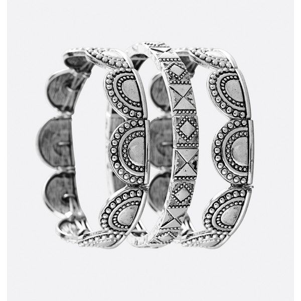 Avenue Scallop Aztec Stretch Bracelet Set ($16) ❤ liked on Polyvore featuring jewelry, bracelets, plus size, silver, silver bangles, imitation jewelry, imitation jewellery, stretch jewelry and silver jewelry