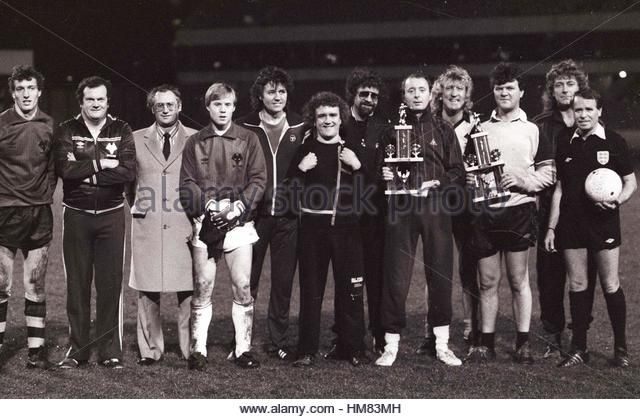 John Richards testimonial match at Molineux 2/12/85 LtoR Tim Flowers, Pat Foley, ????, Scott Barrett,, Bev Bevan, - Stock Image
