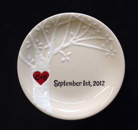 This 4 round (or 3 3/8 square) hand painted personalized ceramic dish with red heart on the raised white tree is perfect to celebrate