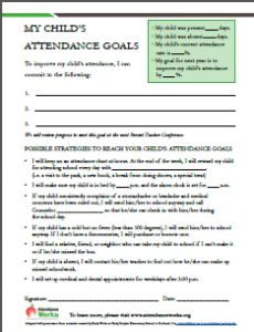 The Student Attendance Success Plan is designed to help parents track their children's attendance and work with teachers to set appropriate goals. Theyare based on materials created by Early Works at Earl Boyles Elementary School in Portland, Ore., and the DeVos Family Foundation in Michigan. Thehandouts are free to download and reprint. If you want …