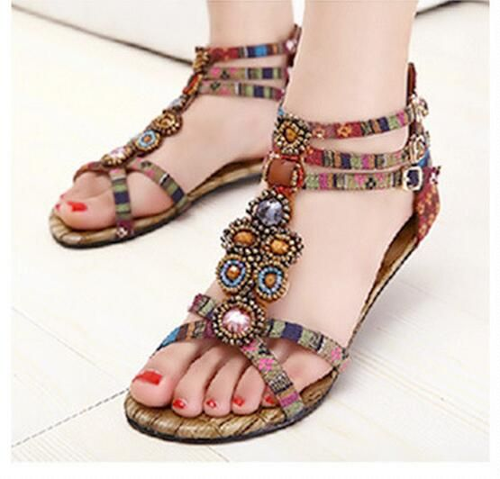 Bohemian Sandals Women Boho Summer Shoes 2017 New Arrival Buckle Straps Ladies Flat Sandals Free Shipping