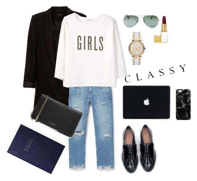 What more can I say by creece-massoudi on Polyvore featuring polyvore, fashion, style, MANGO, New Look, Zara, Marc Jacobs, MICHAEL Michael Kors, Casetify, Ray-Ban, Tom Ford, Smythson and clothing