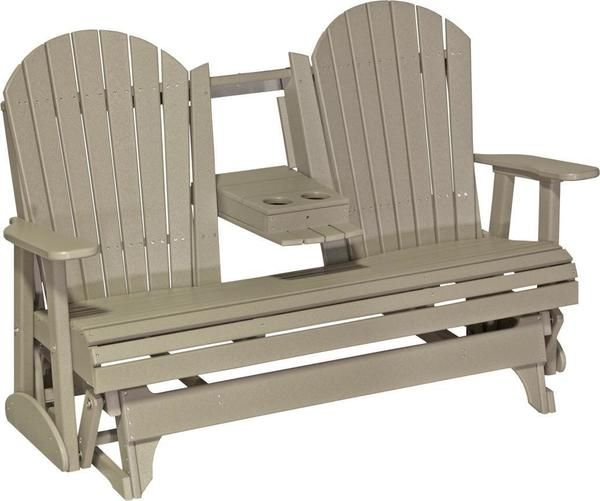 Luxcraft 5 Adirondack Poly Double Glider With Center Tray Porch Glider Glider Chair Pallet Furniture Outdoor
