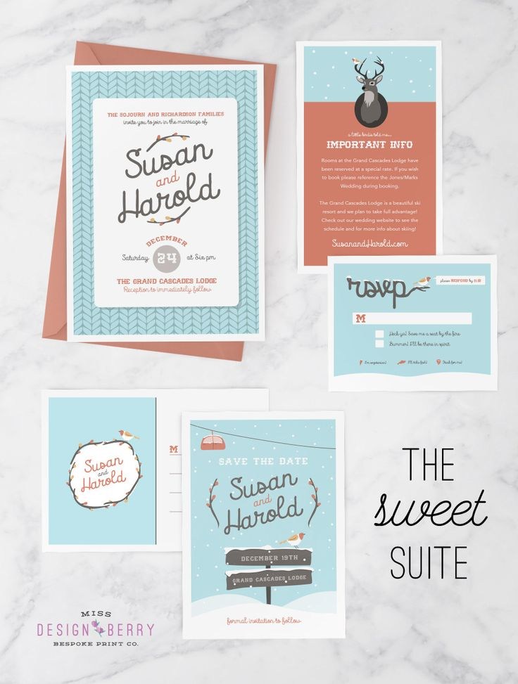 Winter Wedding Invitation Set With Invite, Save The Date Postcard, RSVP  Card, And Insert