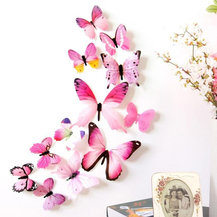 New Qualified Wall Stickers 12pcs Decal Wall Stickers Home Decorations 3D Butterfly Rainbow  PVC Wallpaper for living room www.peoplebazar.net    #peoplebazar