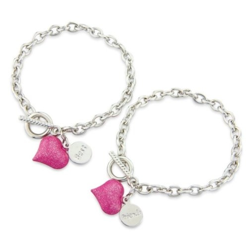 http://cheune.com/store Childrens Bestfriends Bracelet with gorgeous pink hearts and t-bar. 2 Friendship bracelet's includes 2 gift bag