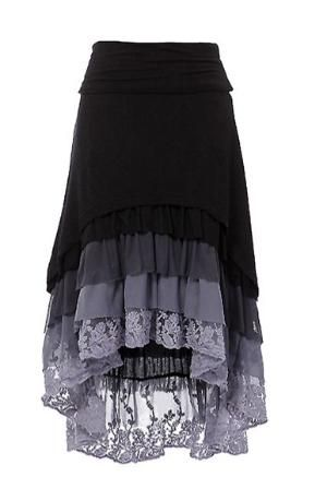 Ruffle Hi-Low skirt High-low hem layered ruffle skirt with fold over waist band. by SheriDiane
