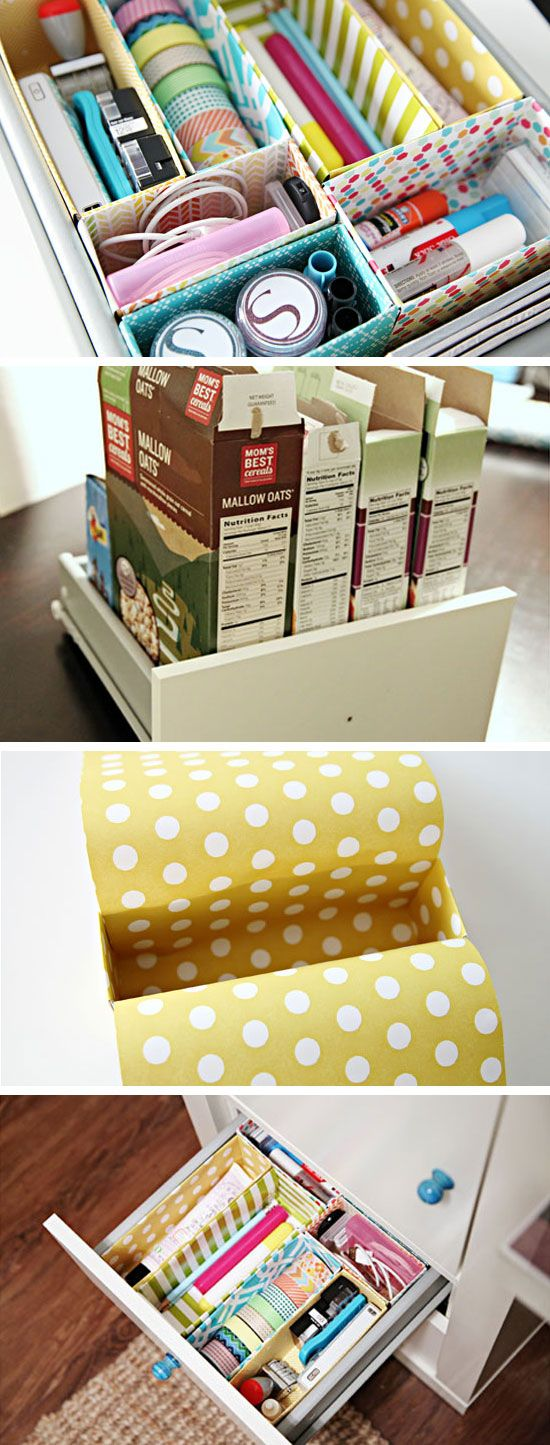 DIY Cereal Box Drawer Dividers | 32 DIY Storage Ideas for Small Spaces | DIY Organization Ideas for Small Spaces// use scrapbook paper or leftover colourful duct tape.