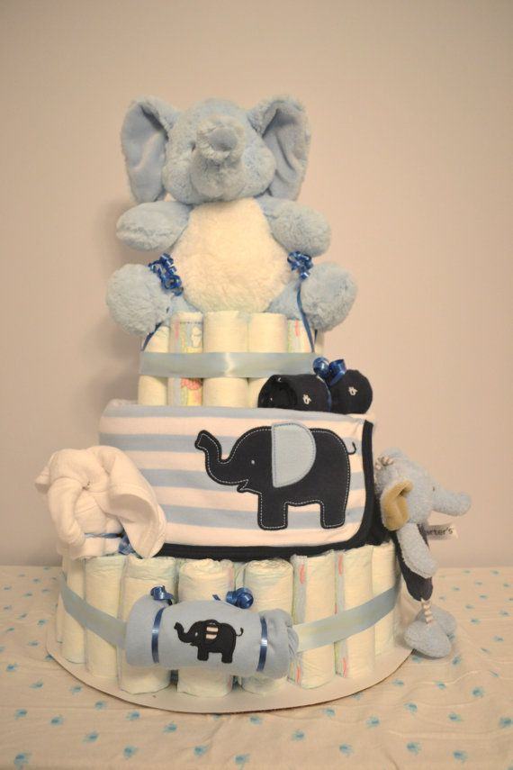 Baby boy elephant diaper cake blue and white elephant for Diaper crafts for baby shower