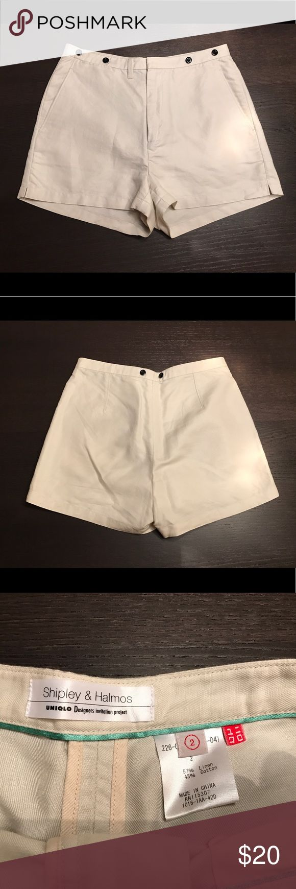 """Uniqlo + Shipley & Halmos beige khaki shorts Sz 2 Excellent condition. High quality cotton and linen fabric. High rise 50s style. Waist measures about 13"""" laying flat. Overall length is 12.5"""" at the outseam. Uniqlo Shorts"""