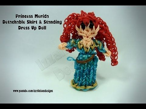 Rainbow Loom Princess MERIDA (Brave) Figure - Detachable Skirt & Standing Dress Up Doll. Designed and loomed by Kate Schultz of Izzalicious Designs. Click photo for YouTube tutorial. 04/28/14.