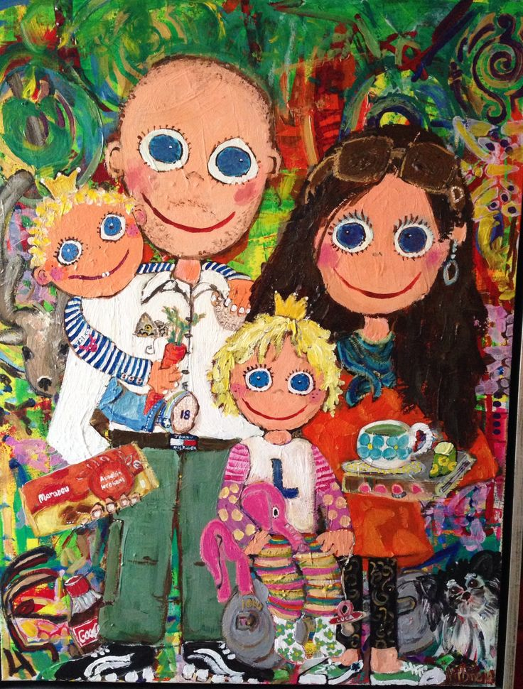 A family 60x80 acyl by Marianne Nielsen