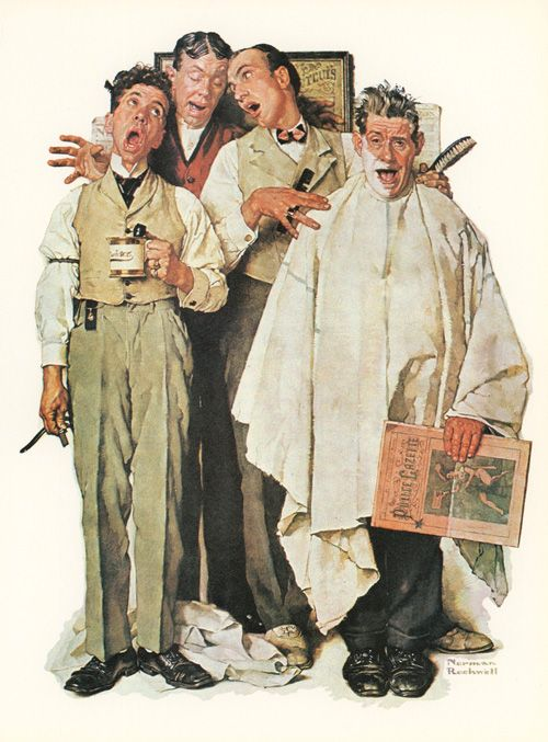 barber's shop quartet: norman rockwell