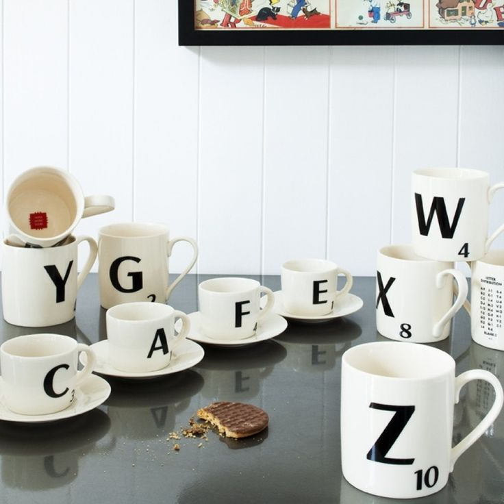Scrabble Mugs Yess love that CAFE is spelt out in picture I would like an H 2Ws and an O to put on a kitchen shelf to fit my mood WOW, HOW, OH, OW nice.