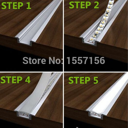 Led Strip Lighting Kitchen: LED Recessed Strip Lights With Aluminum Channel And