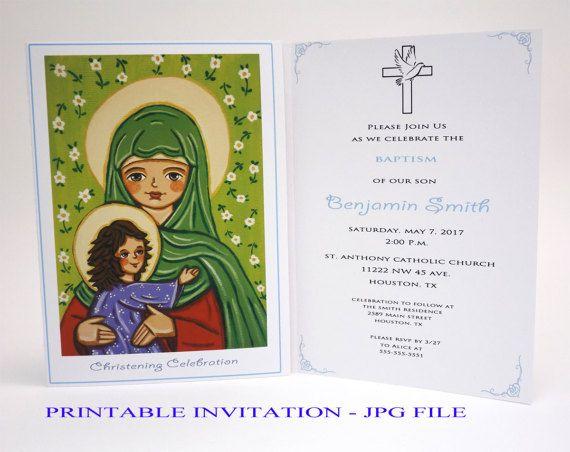 Boy baptism invitation boy John Baptist Boy christening invitation boy Baptism invites Christening invites Bautizo invitations Baptism card
