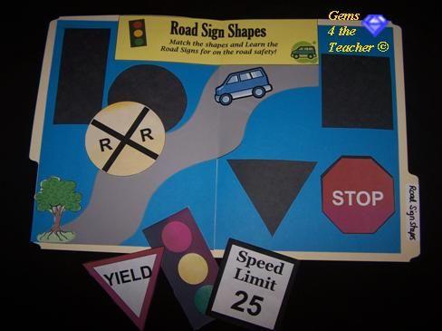 Road Sign Shapes file folder game