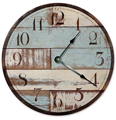 "BLUE RUSTIC WOOD CLOCK Large 10.5"" Wall Clock Decorative Round Novelty Clock PRINTED WOOD IMAGE Beach Wood Clock  #10.5 #Beach #blue #Clock #Decorative #Image #Large #Novelty #Printed #Round #Rustic #RusticWallClock #Wall #Wood The Rustic Clock"