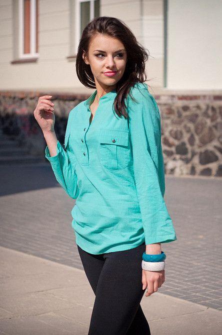 Bawełniana bluzka 5755 mięta | Odzież damska \ koszule WYPRZEDAŻ