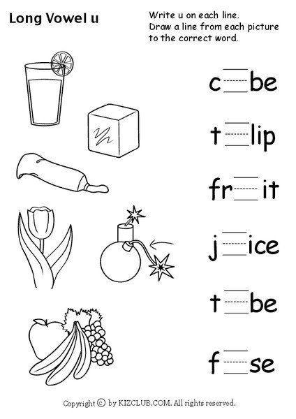 Long Vowels Worksheets Kindergarten Long Vowel