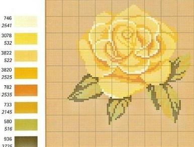 cross stitch: yellow rose