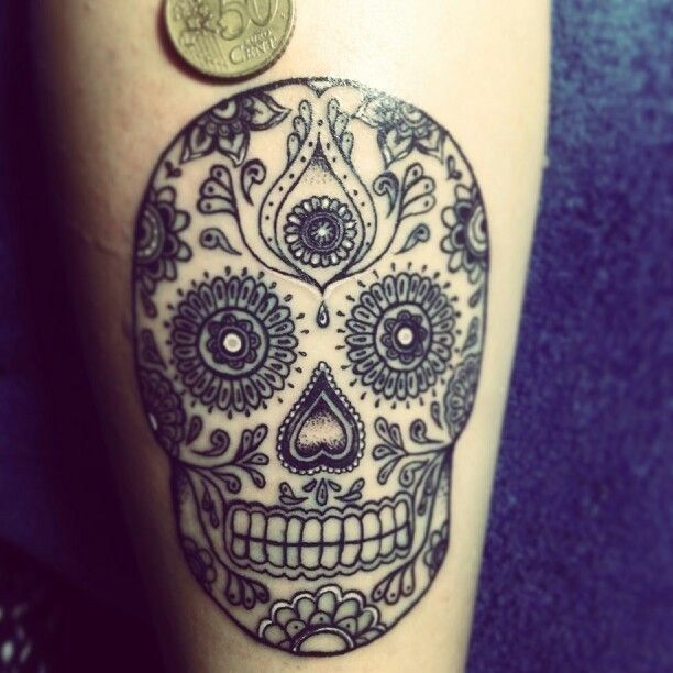 Or stick to the traditional look. | 41 Amazing Sugar Skull Tattoos To Celebrate Día De Los Muertos
