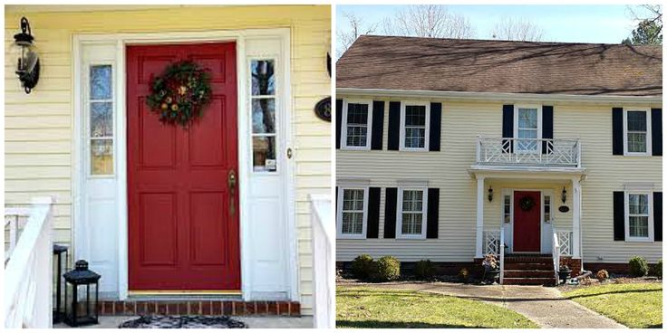 cottage red french doors exterior yellow house white trim google search for my home. Black Bedroom Furniture Sets. Home Design Ideas