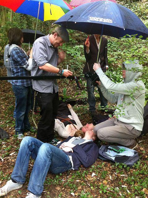 Filming Beloved in the rain