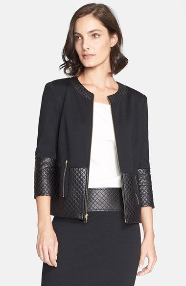 Free shipping and returns on St. John Collection Quilted Leather Trim Milano Knit Jacket at Nordstrom.com. Bridging classic and modern to perfectly polished degree, this boxy, lightweight silk jacket is updated with matte-polished panels of diamond-quilted leather around the collarless neckline, cuffs and hem.
