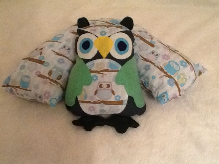 Owl/tri-pillow combo Hand made by NiteOwl Designs $35 Facebook.com/pages/NiteOwl-designs/124722844287918