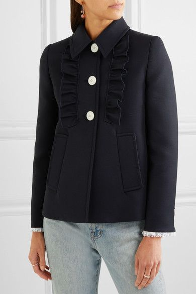 Miu Miu - Broderie Anglaise-trimmed Twill Jacket - Midnight blue