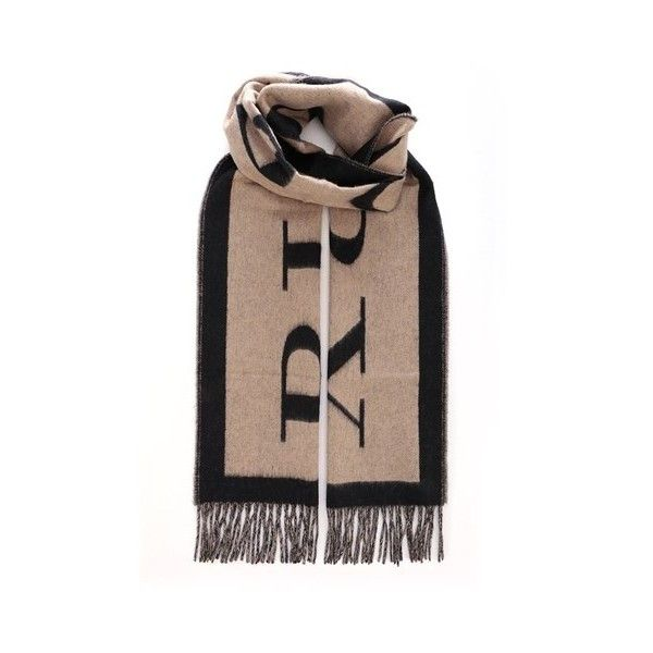 BURBERRY Cashmere Logo Scarf (1.450 BRL) ❤ liked on Polyvore featuring men's fashion, men's accessories, men's scarves, beige, burberry mens scarves and mens cashmere scarves